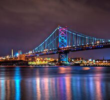 Benjamin Franklin Bridge at Night by Michael Mill