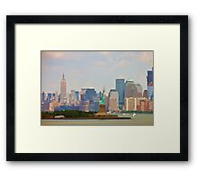 Statue of Liberty and Empire State Building Framed Print
