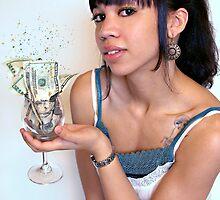 Girl with Cash in Wine Glass by Lauren Neely