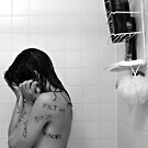 Girl in Shower - Words on Body II by Lauren Neely
