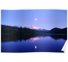 Moon Rise Over Mt. Hood Poster