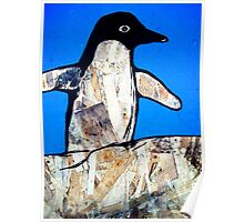 wings out penguin (with blue) Poster