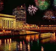 Pennsylvania. Philadelphia. Fireworks over 30th Street Station. by vadim19