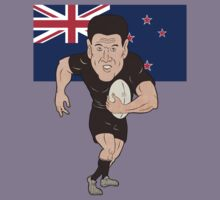 Rugby player running ball New Zealand flag by patrimonio