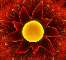 Red Fractal Sun by Beatriz  Cruz