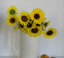 Sunflowers and Peaches by Judith B. Adams