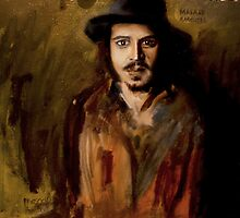 Johnny Depp Oil Painting by Masaad Amoodi