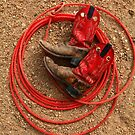 Red Boots and Red Lariat by Larry Turner
