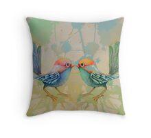 little love birds blue Throw Pillow