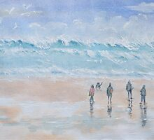Beach walk by Lesley Rowe