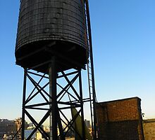 A water tower high on top of the Hotel Chelsea.  by Stephen Fry