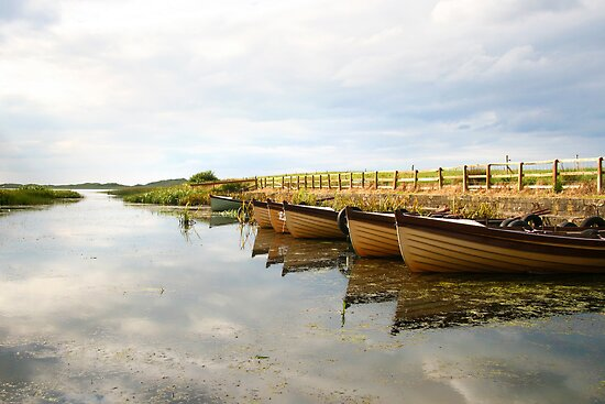 Boats on New Lake Dunfanaghy Donegal Ireland by Peter Gorman