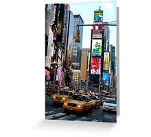 Cabs in Times Square Greeting Card