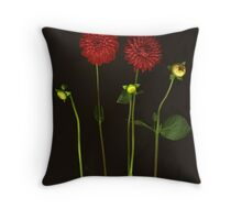 Red Red Red Dahlias Throw Pillow