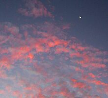 Sunset Moon With Clouds by Robert Phillips