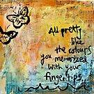 All Pretty -  Butterfly Sketch Mixed Media Painting by DanielleQ