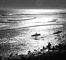 Surfers in Silhuette by Shermananda