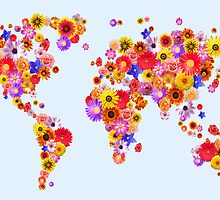 Flower World Map Canvas Art Print by Michael Tompsett