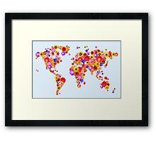 Flower World Map Canvas Art Print Framed Print