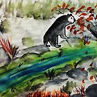 Black Bear going to feed, if he can find it,,,watercolor by Anna  Lewis