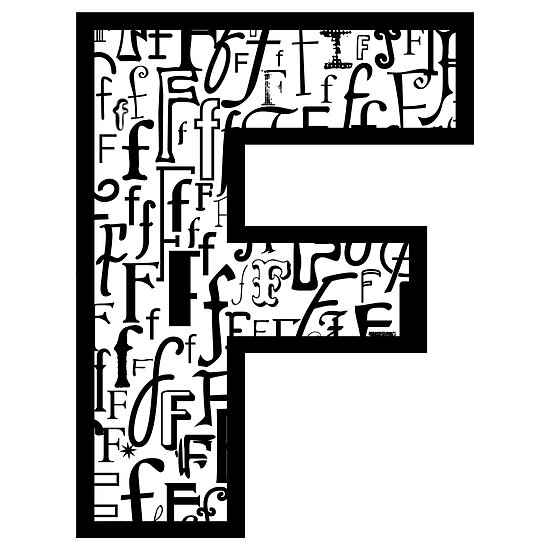 Letter F, white background by Julie Hartman