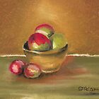Clay Bowl of Apples by Debbie  Adams