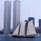"The Twin Towers With The Schooner ""America"". Taken Juring The Parade Of Sail - Bicentennial Celebrations New York 4th July 1976.By Terry Fellows Crew Member On Tall Ship ""Phoenix"". by terryfellows"