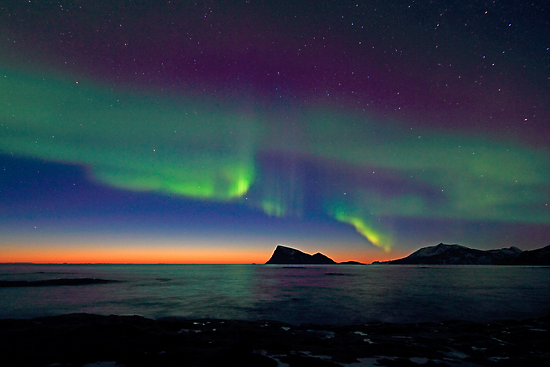 Aurora Borealis & sunset by Frank Olsen