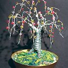 Beaded Oak - Wire Tree Sculpture       by Sal Villano