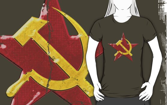 Large distressed Soviet symbol by Emma Harckham