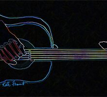 Black Neon Glow Abstract Guitar  by kreativekate