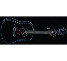 Black Neon Glow Abstract Guitar  Photographic Print