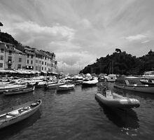 Portofino Harbor B&W by AndrewWilson94