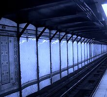 Blue lit tracks - New York by blueness11