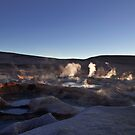 Sunrise at he boiling mud pools at the Sol de Manana Geyser, Atacama, Altiplano, Sud Lipez, Chile border, Bolivia, South america by Thibaut PETIT-BARA