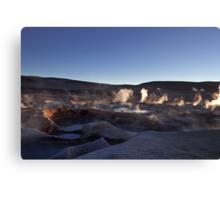Sunrise at he boiling mud pools at the Sol de Manana Geyser, Atacama, Altiplano, Sud Lipez, Chile border, Bolivia, South america Canvas Print