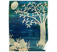 Tree in the dark,BOOOOOO, watercolor Poster