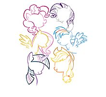 Mane 6 Outline Photographic Print