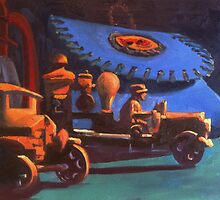 Antique Creel and Toy Trucks by Phyllis Dixon