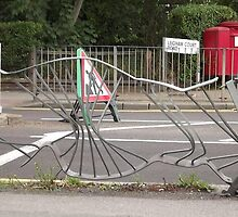 road traffic accident/dented fence -(120811a)- digital photo by paulramnora
