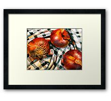 Black and White and Red Onions Framed Print