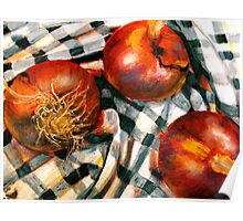 Black and White and Red Onions Poster