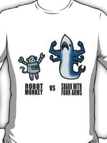 Robot Monkey VS Shark with 4 arms T-Shirt