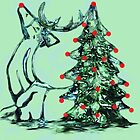 Reindeer Tree Christmas Card by Dawn B Davies-McIninch