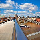 St Pauls Cathedral from Millennium Bridge London by Ray Clarke
