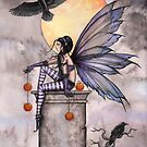"""Autumn Raven"" Gothic Fairy and Ravens  by Molly  Harrison"