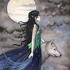 &quot;Night of the Wolf&quot; Gothic Fantasy Art by Molly Harrison by Molly  Harrison