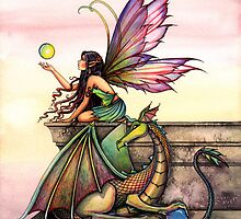 """""""Dragon's Orbs"""" Fairy and Dragon Art by Molly Harrison by Molly  Harrison"""