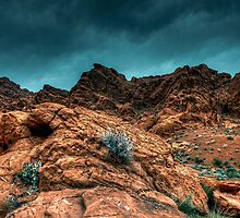 Clouds rolling in at Valley of Fire State Park by Arno Jenkins