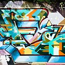 Abstract Colorful Graffiti on the textured wall by yurix